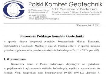 Stanowisko Polskiego Komitetu Geotechniki