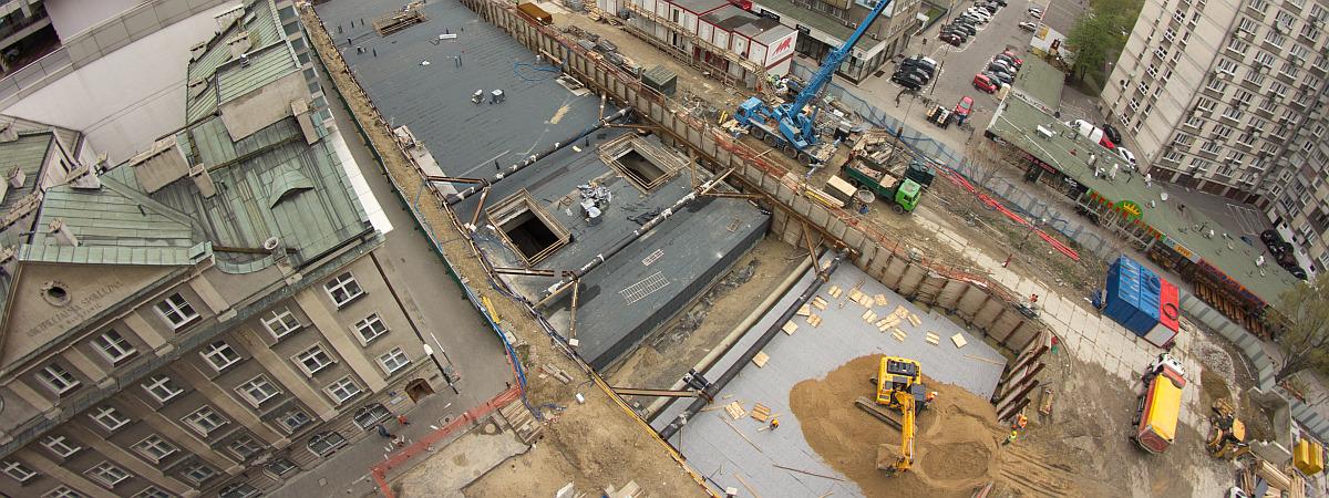 Budowa stacji metra Rondo ONZ
